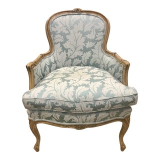 French Louis XV Style Carved Bergere Armchair For Sale