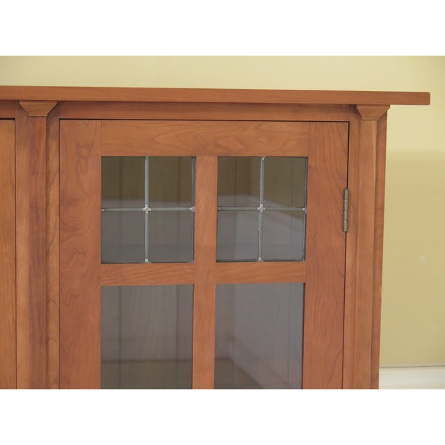 Stickley Mission Cherry Leaded Glass 2 Door Bookcase, Circa 2002. It Has Nice Leaded Glass Top Panels And It Made Of Solid...