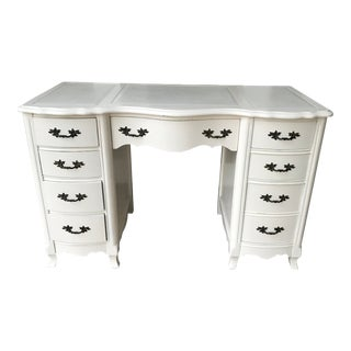 Vintage French White Leather Top Writing Desk