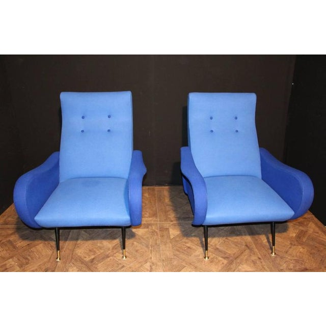 Gold Italian Pair of Blue Mid-Century Chairs in the Style of Zanuso For Sale - Image 8 of 8
