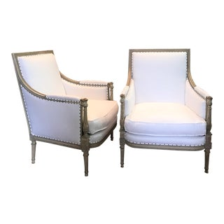 Pair of Louis XVI Bergeres For Sale
