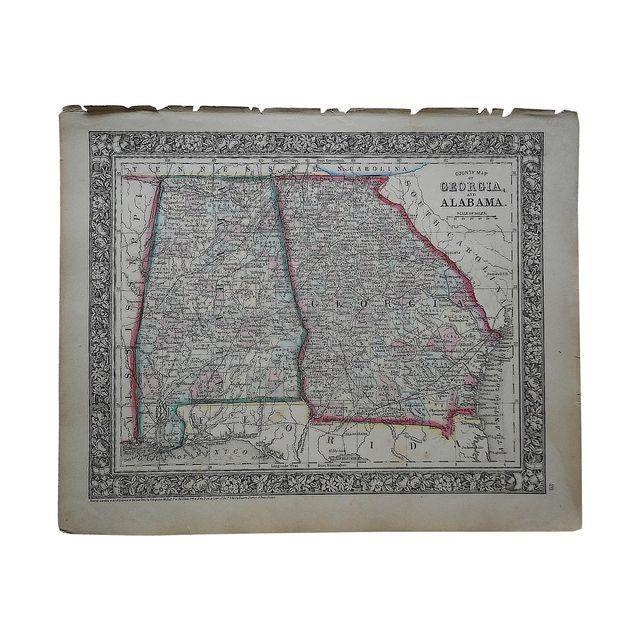 Antique Map of Georgia & Alabama - Image 1 of 2