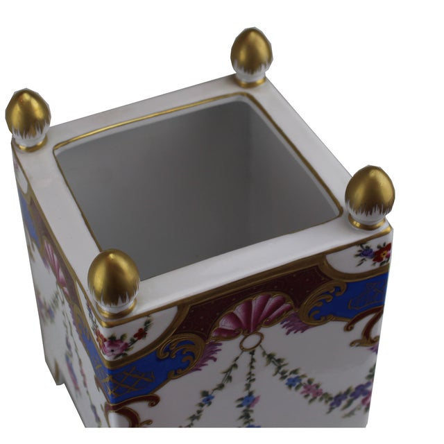 Italian Pasargad DC Italian Square Hand-Painted / Gold Vase For Sale - Image 3 of 4