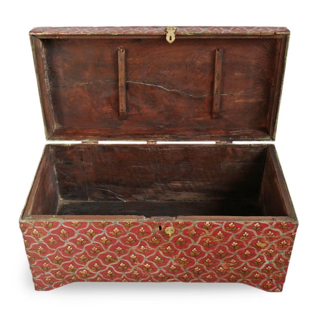 Painted Flower Wood Box For Sale - Image 4 of 8