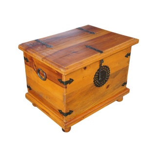 Country Arhaus Old World Distressed Yellow Pine Trunk For Sale
