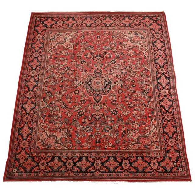 Hand knotted wool Persian Mahal rug with beautiful floral medallion design.
