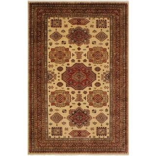Super Kazak Garish Todd Ivory/Rust Wool Rug - 5'6 X 8'0 For Sale