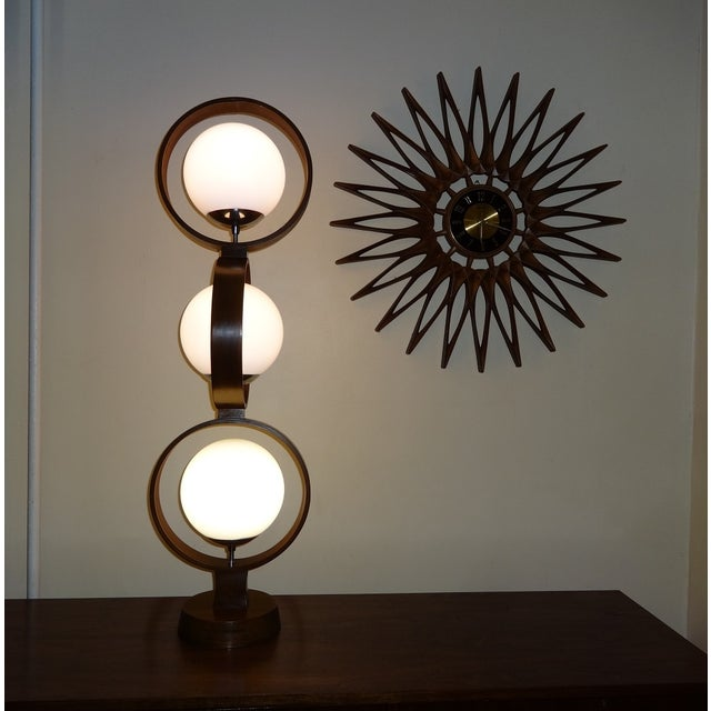 Mid Century Modern Modeline Walnut 3 Tier Lamp - Image 4 of 7