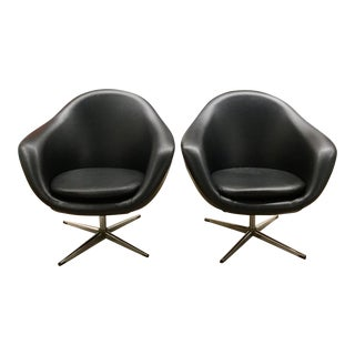 Black Vinyl Overman Chairs - a Pair For Sale