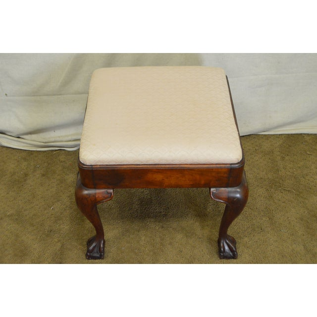 Ottomans Ornate Mahogany Ottoman: Antique Mahogany Square Chippendale Style Claw Foot