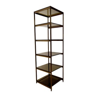 Vintage Brass and Smoked Glass Etagere Shelf