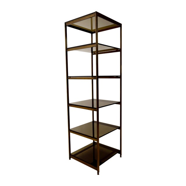 Vintage Brass and Smoked Glass Etagere Shelf For Sale