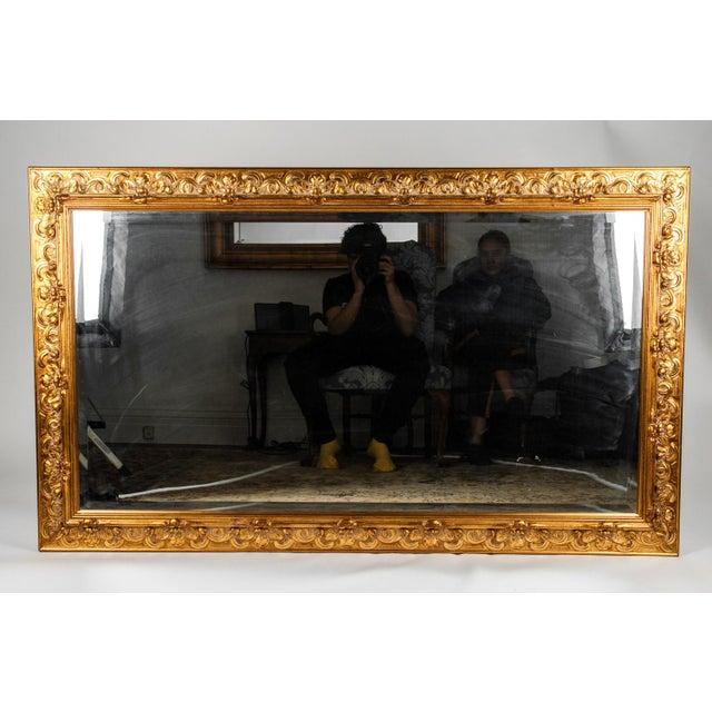 Vintage Italian Gilded Wood Framed Hanging Bevelled Mirror For Sale - Image 9 of 10