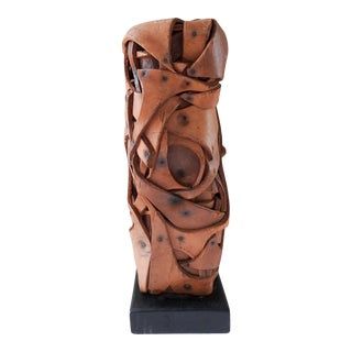 Vintage Abstract Brutalist Leather Sculpture For Sale