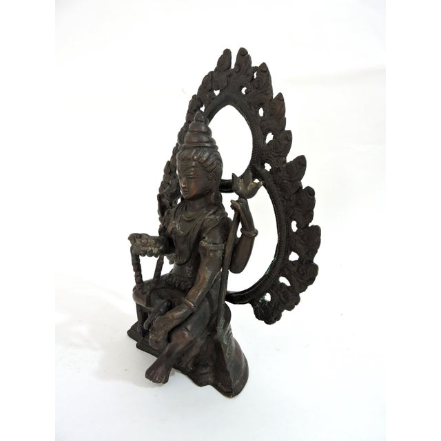 20th Century Antique Bronze Hindu Statue of Shiva, Seated For Sale - Image 4 of 7