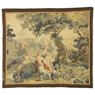 Antique Flemish Mythological Tapestry, Medieval Baroque Wall Hanging - 4′ × 4′7″ For Sale