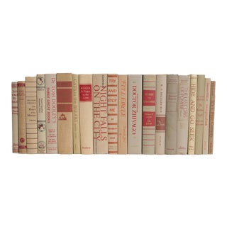 Khaki and Crimson Mid-Century MIX Book Set, (S/20) For Sale