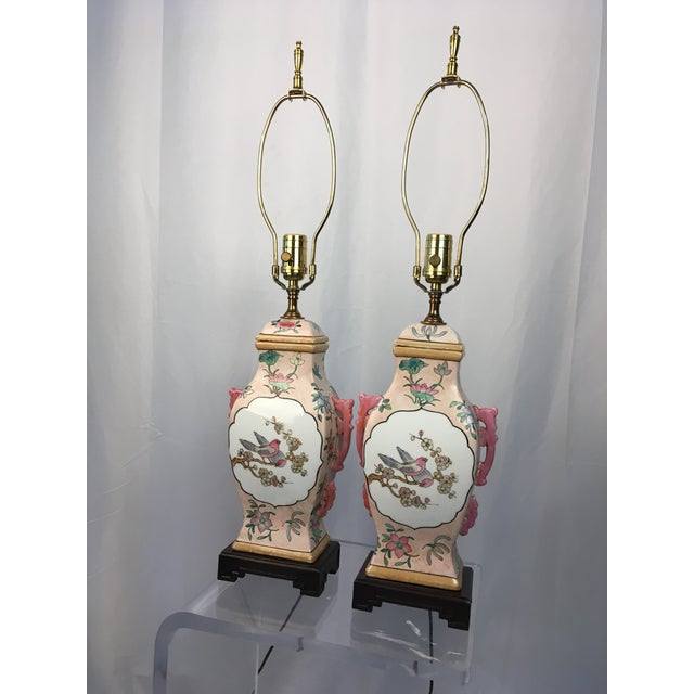 Pink Pink With Floral Motif Chinoiserie Vintage Lamps - a Pair For Sale - Image 8 of 9