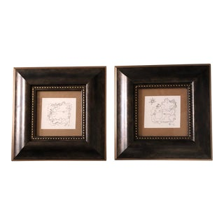 Gallery Wall Collection-2 Original Wayne Cunningham Abstract Ink Drawing 1990's- a Pair For Sale