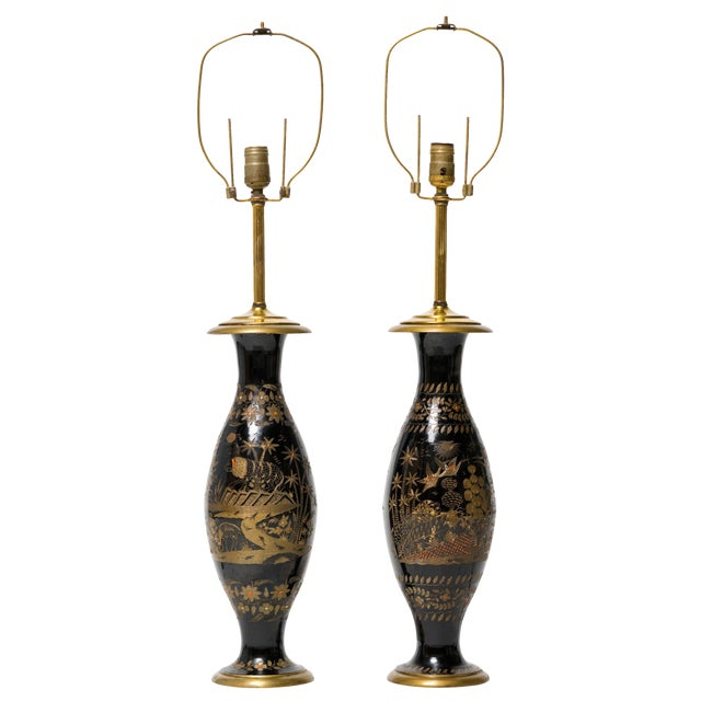 Pair of Brass Etched Asian Motif Table Lamps For Sale