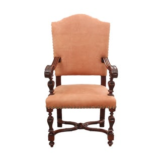 Jacobean Style Leather Chair For Sale