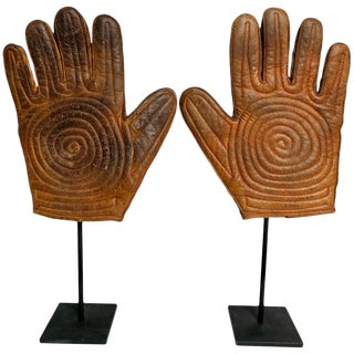 Antique Leather Handball Gloves on Custom Made Steel Stands Pair For Sale