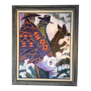 "Late 20th Century J. Meyers ""Woman on Horse"" Painting For Sale"