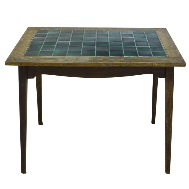 Antique English Wood and Tile Top Pub Table For Sale