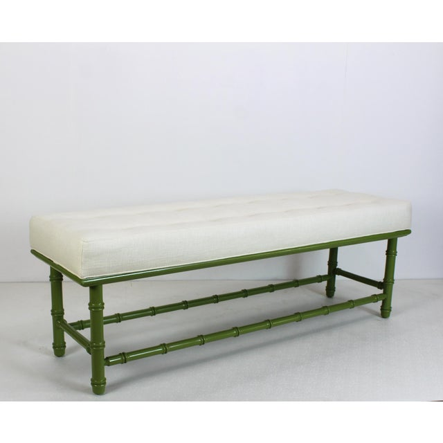 Mid-Century Modern Mid Century Faux Bamboo Green Bench For Sale - Image 3 of 11