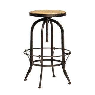 Reclaimed Wood & Iron Adjustable Barstool For Sale