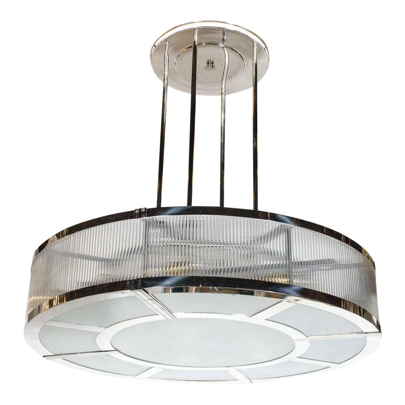 Exceptional streamline art deco style circular chandelier in polished nickel glass decaso