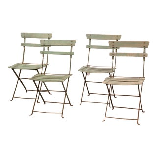 Set of Four 1920s French Iron and Wood Painted Folding Garden Chairs For Sale