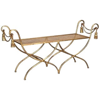 Hollywood Regency Italian Gilt Iron Tassel and Rope Bench For Sale