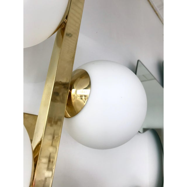 Current Contemporary Brass Sconces Opaline Glass Ball, Italy For Sale - Image 4 of 11