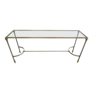 Steel Brass Glass Console Table For Sale