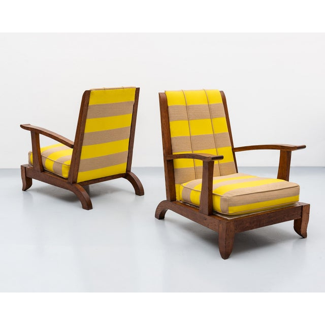 French Lounge Chairs in Oak and Raf Simmons Fabric, 1940s For Sale - Image 11 of 11