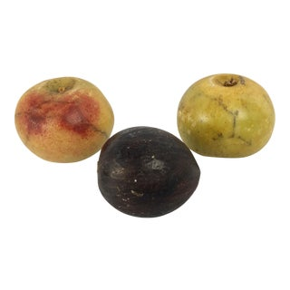 Italian Vintage Painted Marble Fruits Set of 3