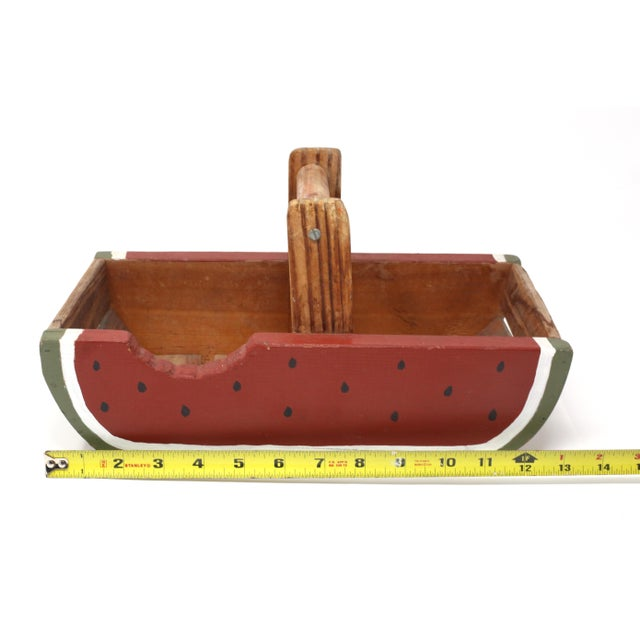 White Vintage Handmade Wood Watermelon Slice Basket For Sale - Image 8 of 10