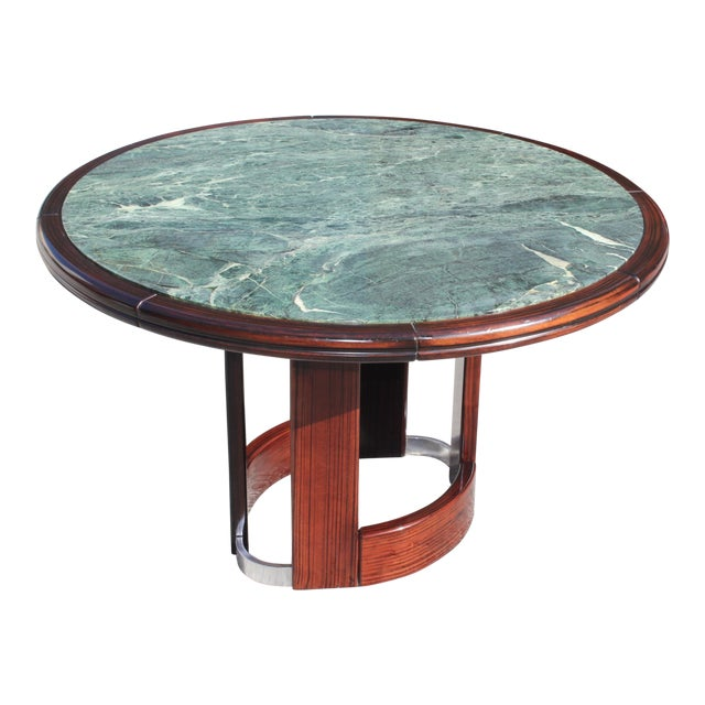 French Art Deco Macassar Ebony Round Center Table With Green Marble Top For Sale