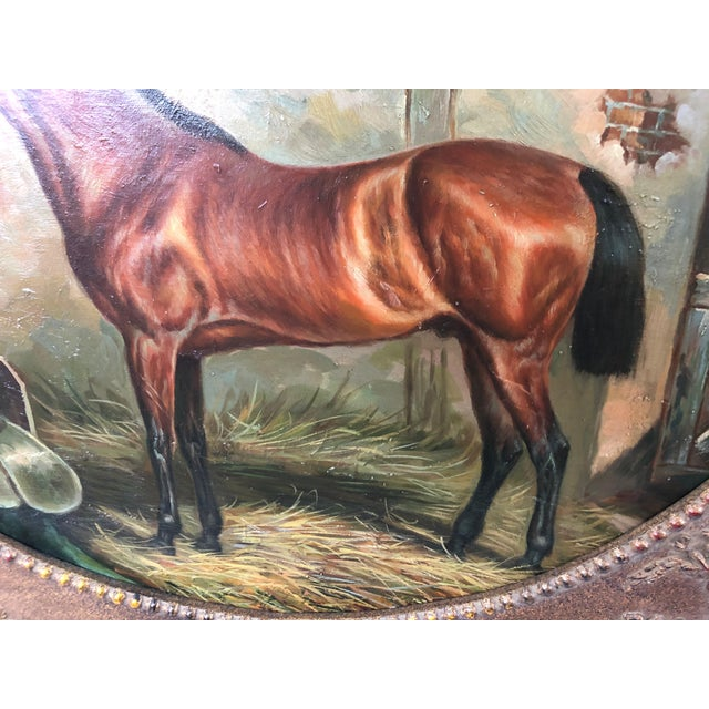 A rich equestrian portrait with mahogany thoroughbred in its stable, painted in realistic style and framed in a vintage...