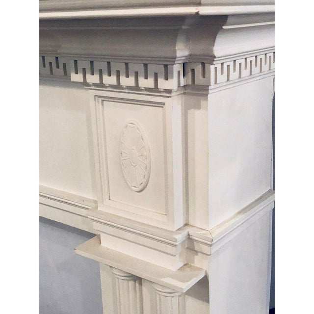 White Neoclassical Monumental Hand Carved Fire Place Surrounds - a Pair For Sale - Image 8 of 13