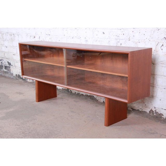 Wood Svend Aage Larsen for Faarup Danish Modern Teak Glass Front Bookcase or Credenza For Sale - Image 7 of 11