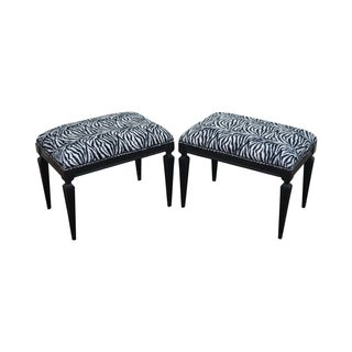 Hollywood Regency Black Ottomans Benches - A Pair For Sale