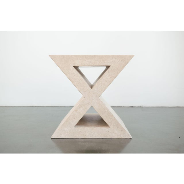 Stone Modern 'X' Travertine Side Table For Sale - Image 7 of 7