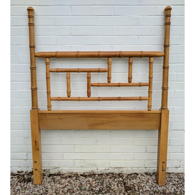 Faux Bamboo Chippendale Wooden Poster Twin Headboard For Sale - Image 9 of 9