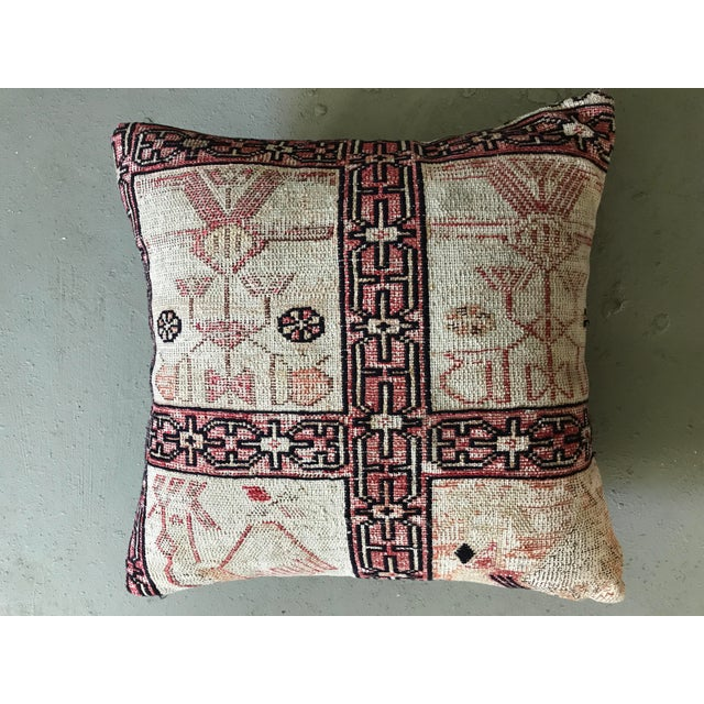 Boho Chic Vintage Turkish Kilim Pillow For Sale - Image 3 of 4