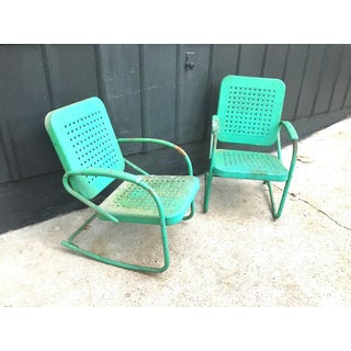 Vintage Green Metal Patio Rocker Chairs - a Pair Preview