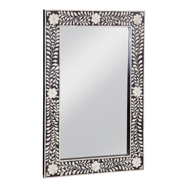 Imperial Beauty Wooden and Bone Mirror Frame in Black/White, 24x36 For Sale