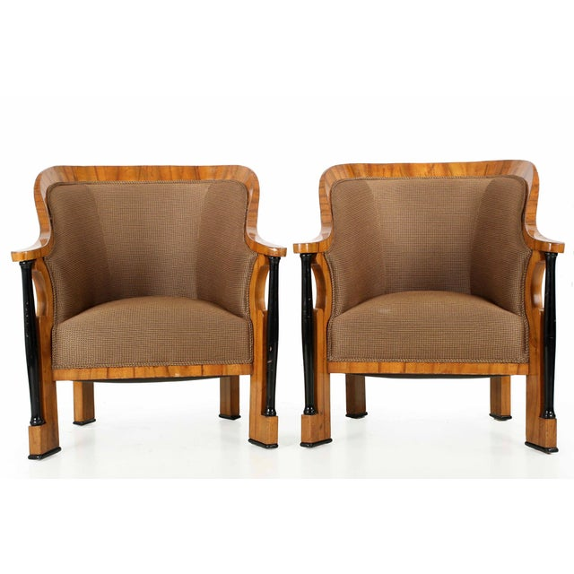 This exceptional pair of Biedermeier tub chairs make an incredibly powerful presentation with their unique and robust...