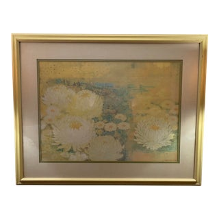 """Mid-Century Modern Japanese """"Waterlilies"""" Framed Lithograph Signed Kensuke Wakeshima For Sale"""